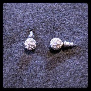 Ann Taylor Ball CZ Stud Pave Crystal Earrings